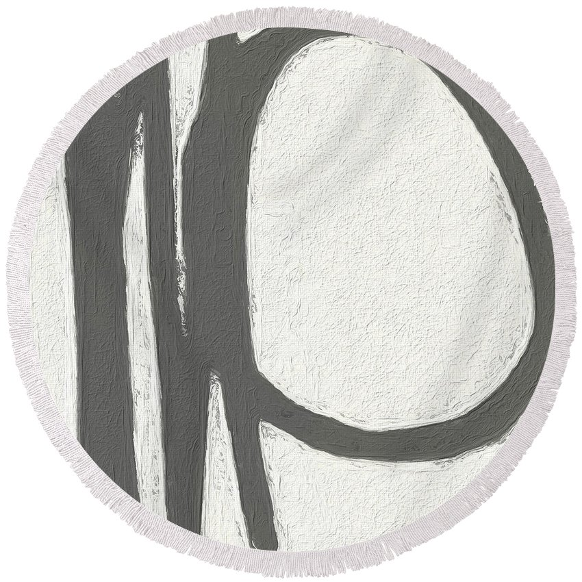 Abstract Round Beach Towel featuring the painting Intersection by Linda Woods