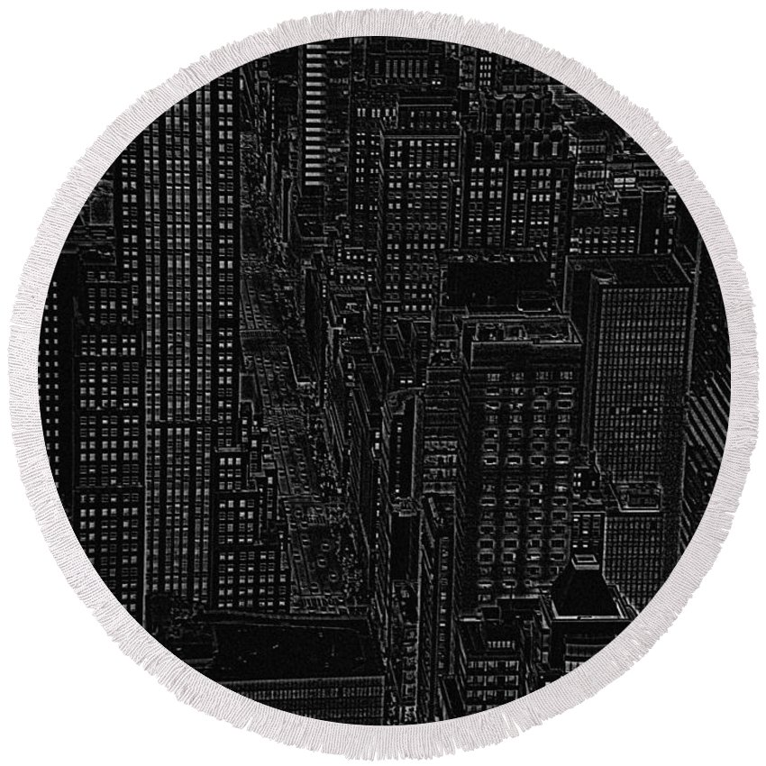 Nyc Round Beach Towel featuring the digital art Into Nyc White On Black by Meandering Photography