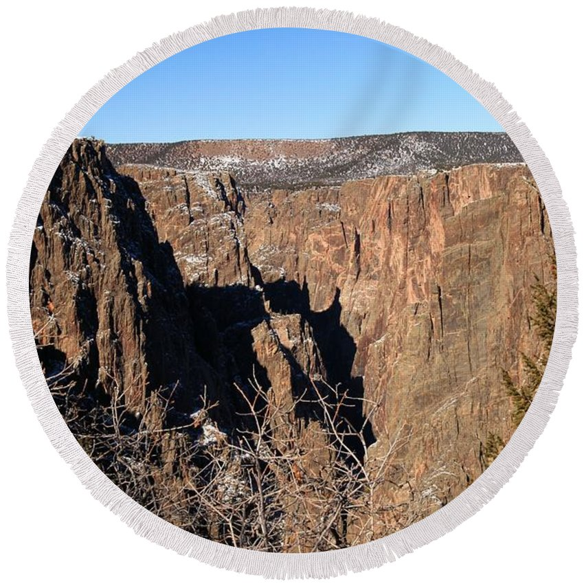 Black Canyon Of The Gunnison Round Beach Towel featuring the photograph Into The Black Canyon by Adam Jewell