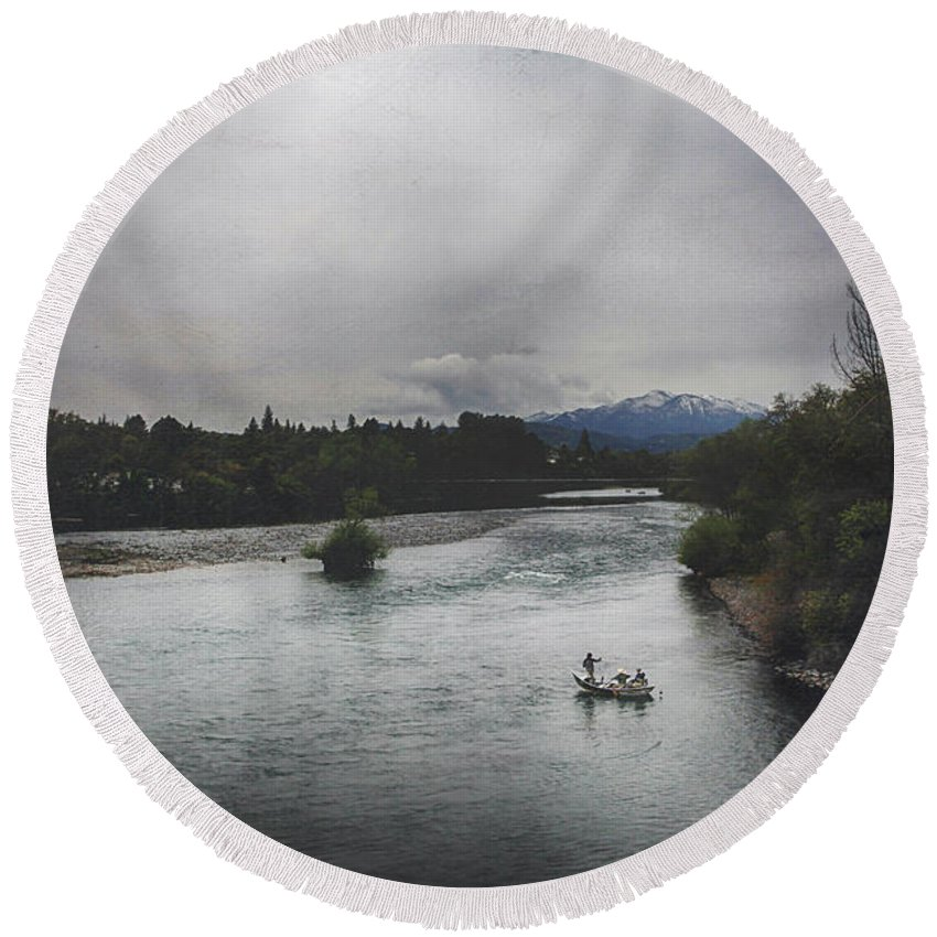 Sacramento River Round Beach Towel featuring the digital art Into The Great Wide Open by Laurie Search