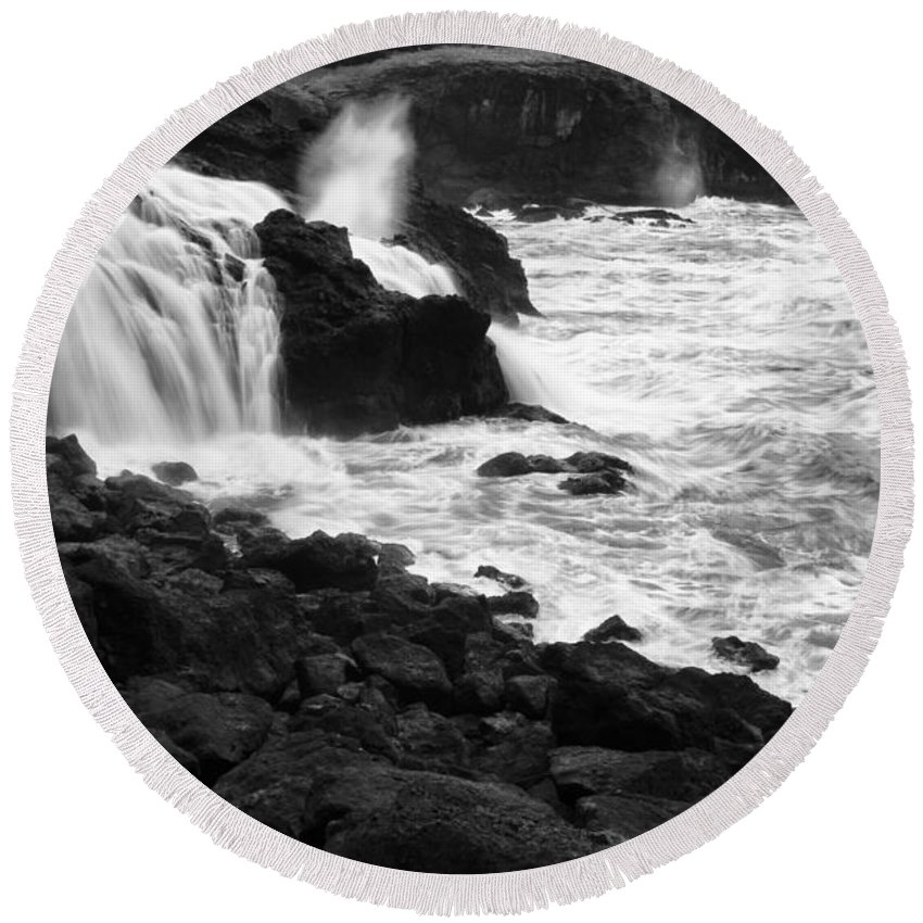Falls Round Beach Towel featuring the photograph Into The Sea by Bob Christopher