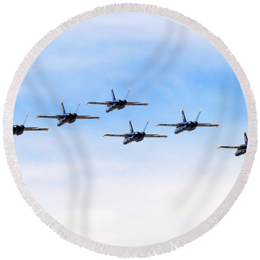 Blue Angels Round Beach Towel featuring the photograph Into The Sunset by Bob Hislop