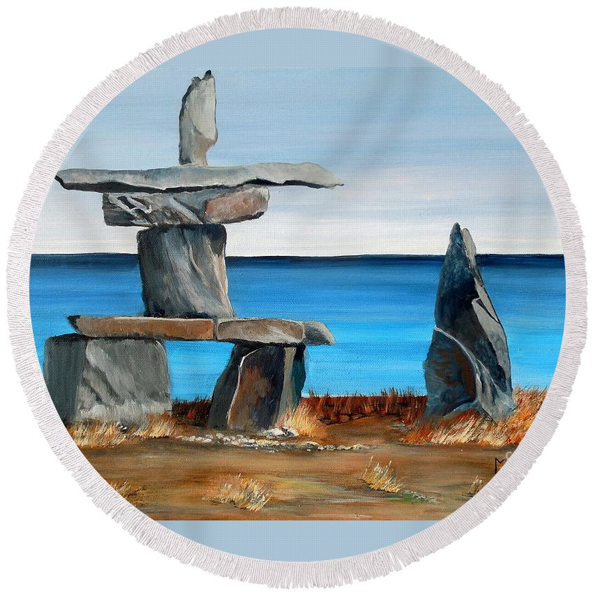 Inuit Round Beach Towel featuring the painting Inukshuk 3 by Marilyn McNish