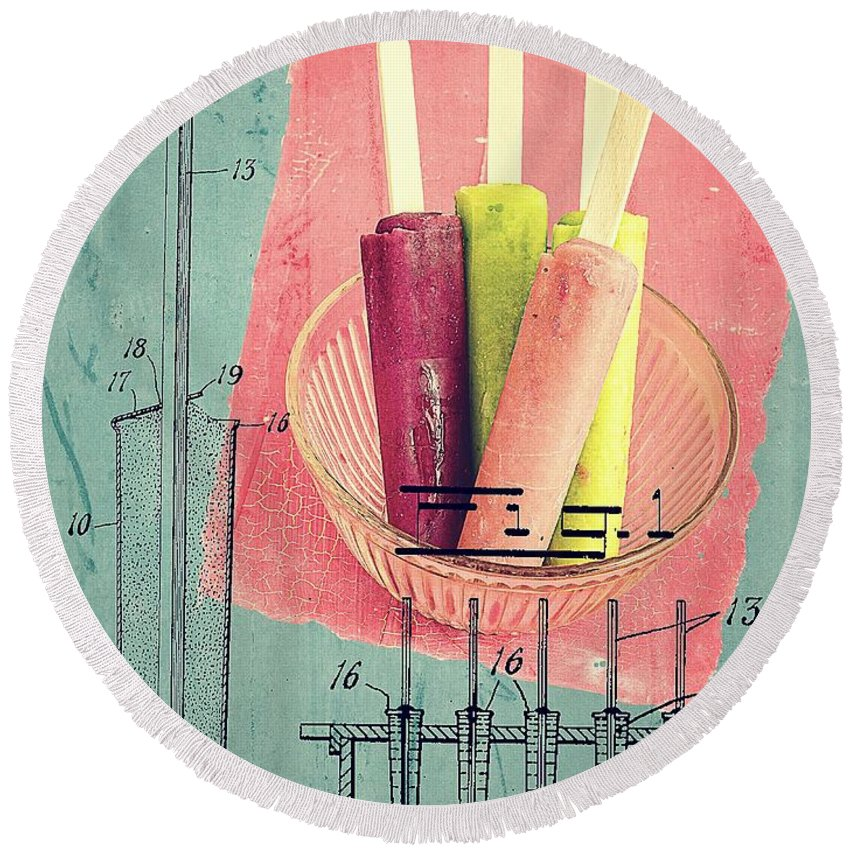 Popsicle Round Beach Towel featuring the photograph Invention Of The Ice Pop by Edward Fielding
