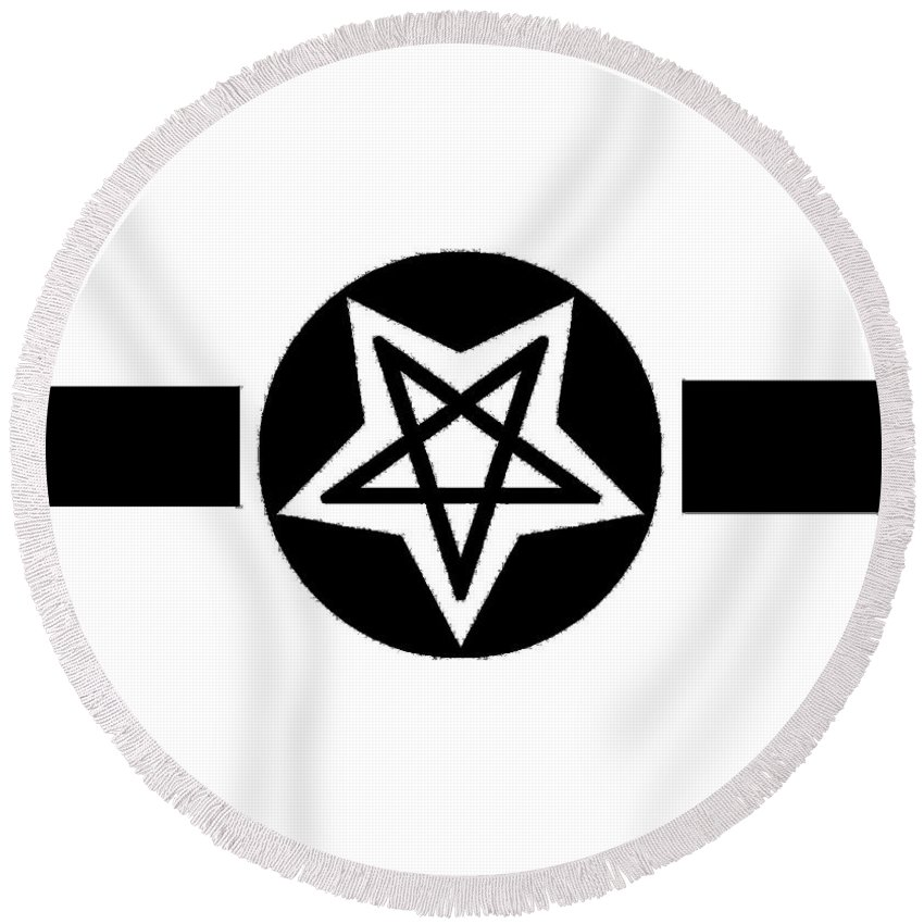 Inverted Round Beach Towel featuring the digital art Inverted Wicca Military Symbol by Frederick Holiday