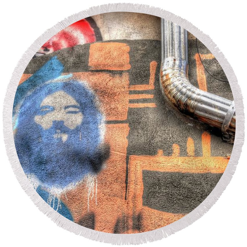 Graffiti Round Beach Towel featuring the photograph Invisible God by Anthony Wilkening