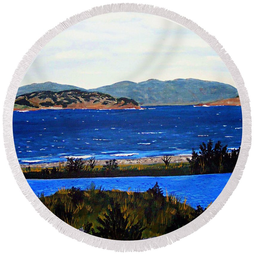 Islands Round Beach Towel featuring the painting Iona formerly Rams Islands by Barbara Griffin