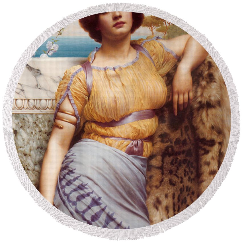 John William Godward Round Beach Towel featuring the digital art Ionian Dancking Girl by John William Godward