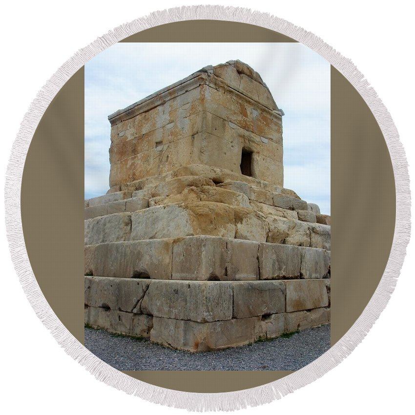 Cyrus The Great Round Beach Towel featuring the photograph Iran Cyrus Tomb Pasargadae by Lois Ivancin Tavaf