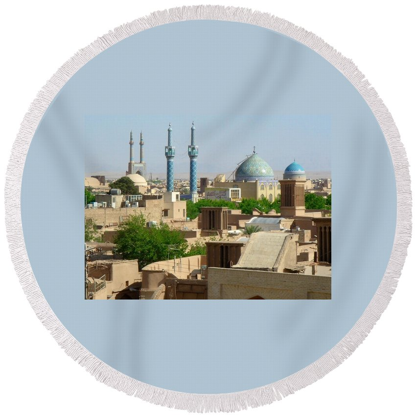 Yazd Round Beach Towel featuring the photograph Iran Yazd From The Rooftops by Lois Ivancin Tavaf