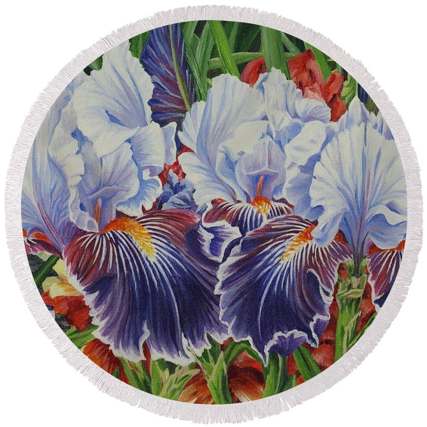 Iris Round Beach Towel featuring the painting Iris Blooms by Jane Girardot