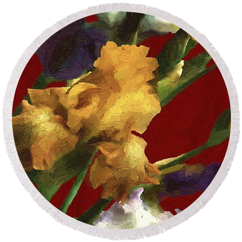 Flowers Round Beach Towel featuring the painting Iris In The Rough by RC DeWinter