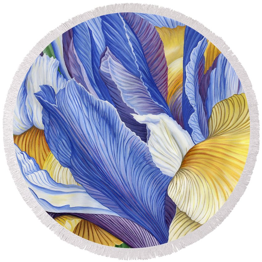 Iris Round Beach Towel featuring the painting Iris by Jane Girardot