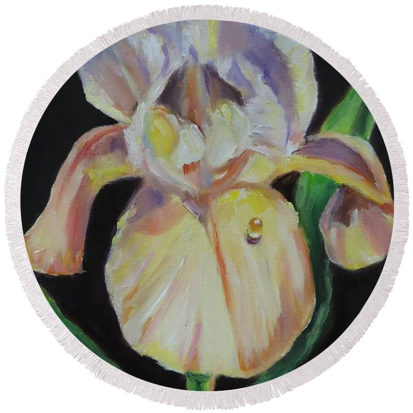 Iris Round Beach Towel featuring the painting Iris With Dewdrop by Jean Costa