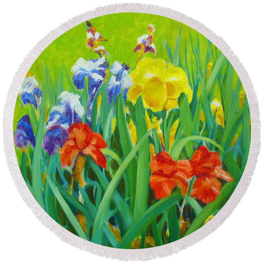Flowers Round Beach Towel featuring the painting Irises On The West Lawn 1 by Dai Wynn