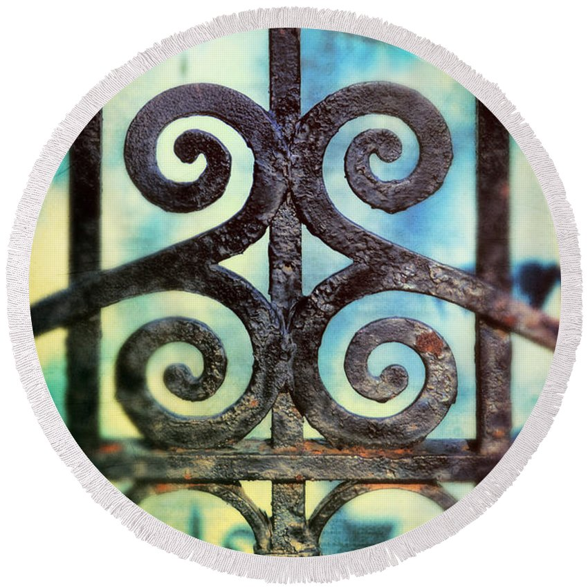 Iron Gate Round Beach Towel featuring the photograph Iron Gate Detail by Jill Battaglia