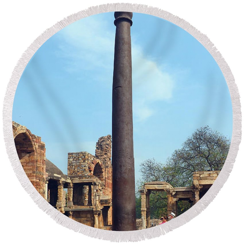 Iron Pillar Round Beach Towel featuring the photograph Iron Pillar Of Qutb by C H Apperson