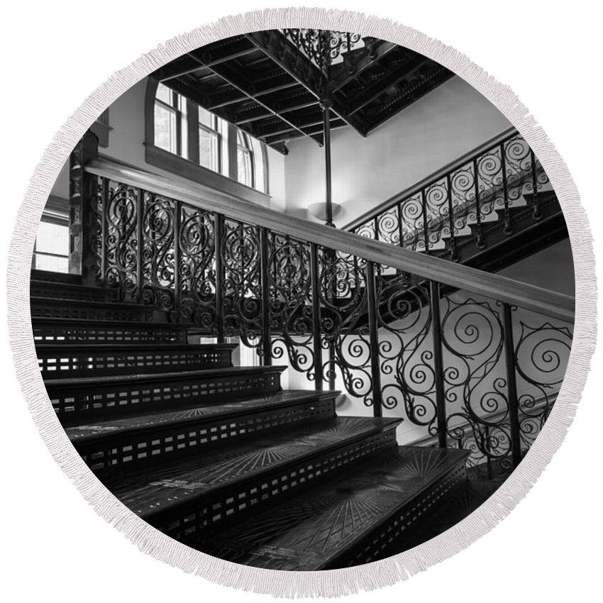 America Round Beach Towel featuring the photograph Iron Staircases by Inge Johnsson