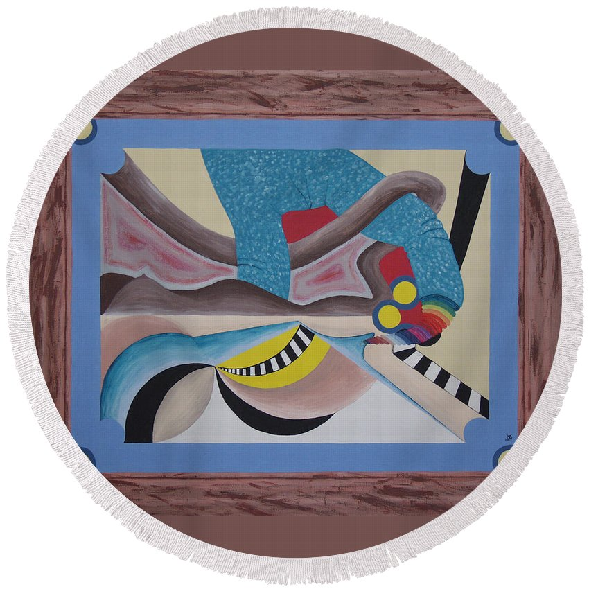 Expressionism Round Beach Towel featuring the painting Irreconcilable Differences by Dean Stephens