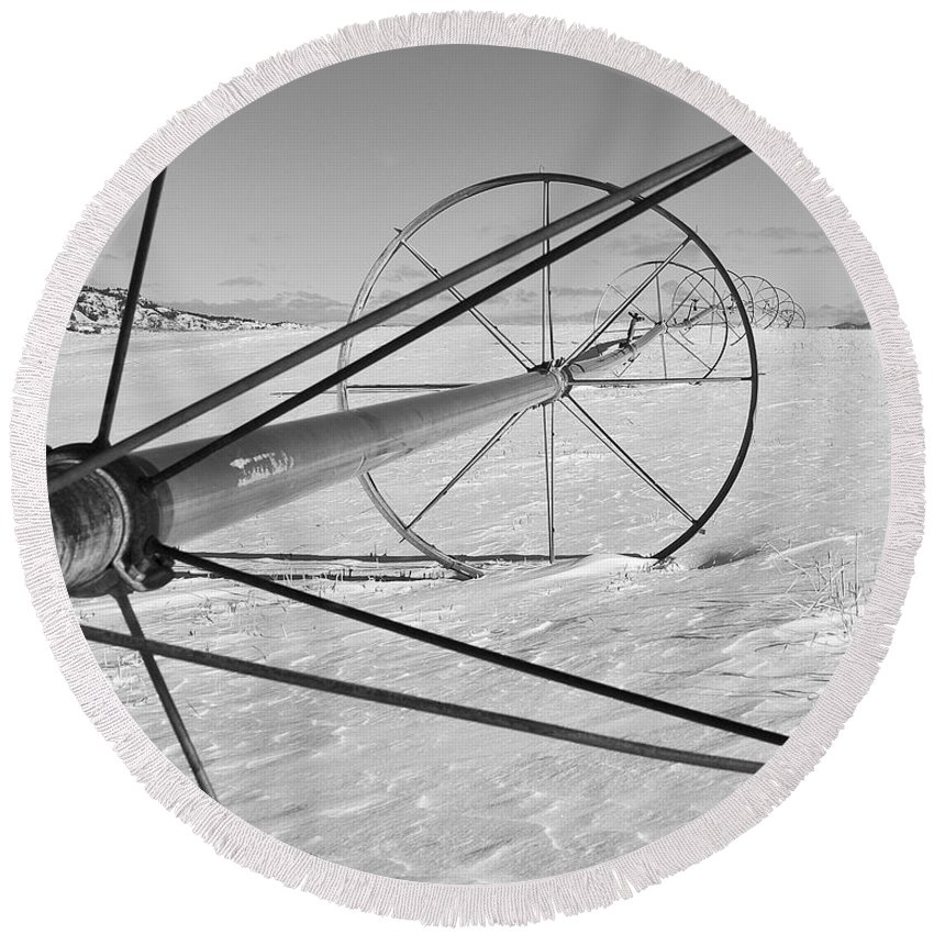 Farm Prints Round Beach Towel featuring the photograph Irrigation Pipe In Winter by Theresa Tahara