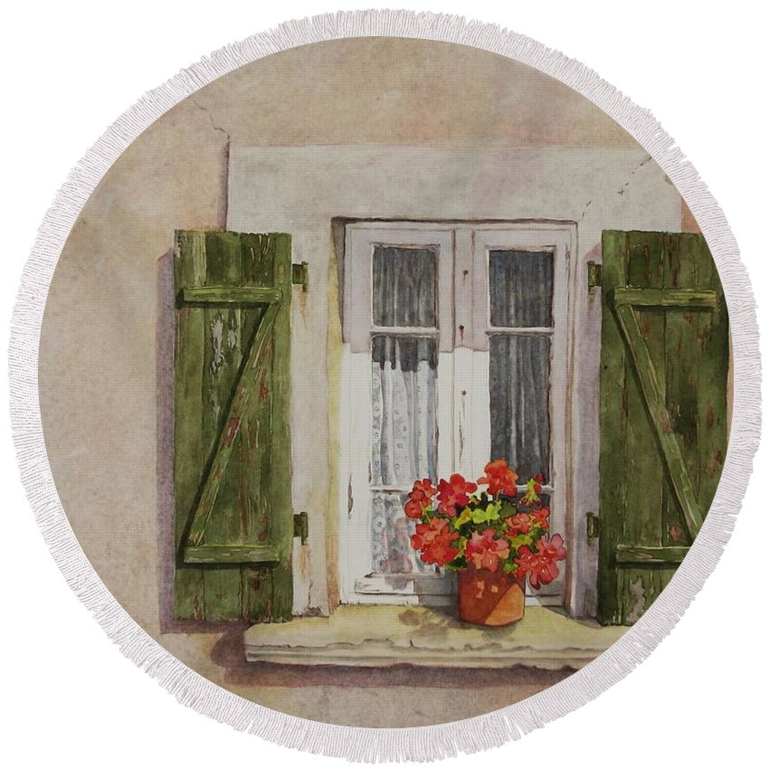 Watercolor Round Beach Towel featuring the painting Irvillac Window by Mary Ellen Mueller Legault