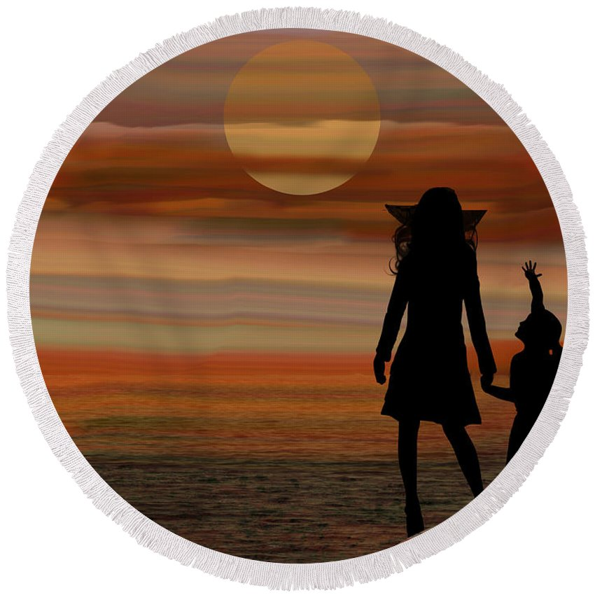 Sun Round Beach Towel featuring the digital art Is Daddy In Heaven Now - Featured In Contours And Silhouettes - Cards For All Occ -nature Wildlife by Ericamaxine Price
