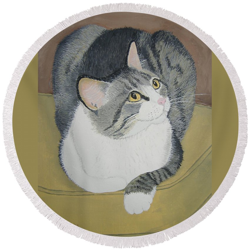 Cat Round Beach Towel featuring the painting Is Dinner Ready by Norm Starks