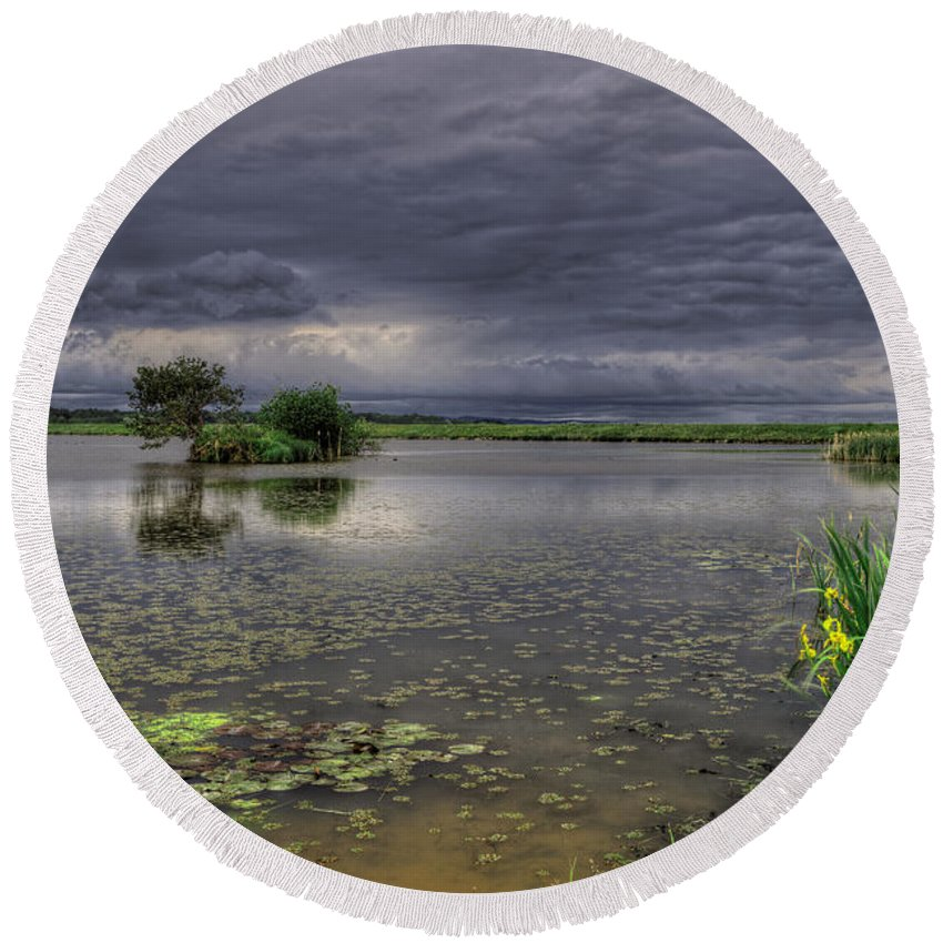 Reflection Round Beach Towel featuring the photograph Island And Flowers by Ivan Slosar