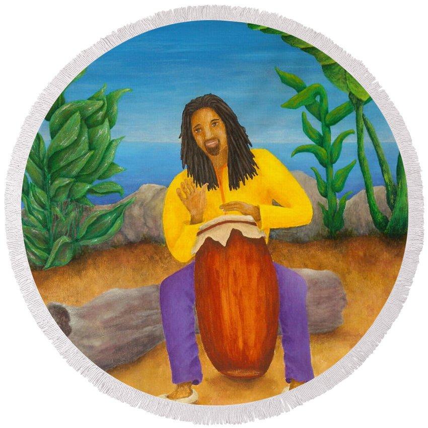 Pamela Allegretto Round Beach Towel featuring the painting Island Beat by Pamela Allegretto