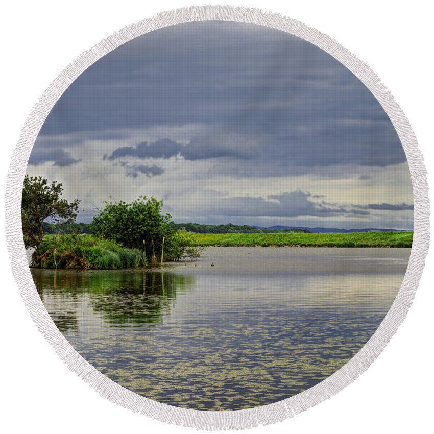 Reflection Round Beach Towel featuring the photograph Island by Ivan Slosar