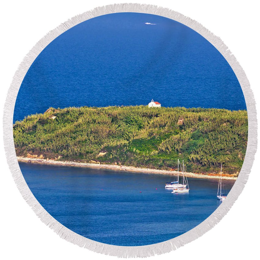 Church Round Beach Towel featuring the photograph Island Of Susak Cape Church by Brch Photography