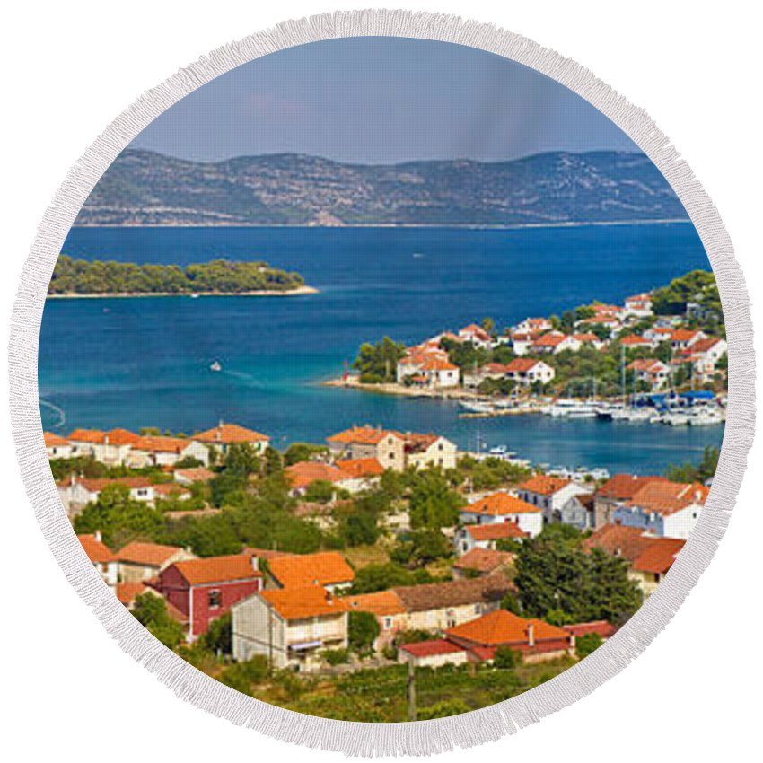 Croatia Round Beach Towel featuring the photograph Island Of Veli Iz Panoramic View by Brch Photography