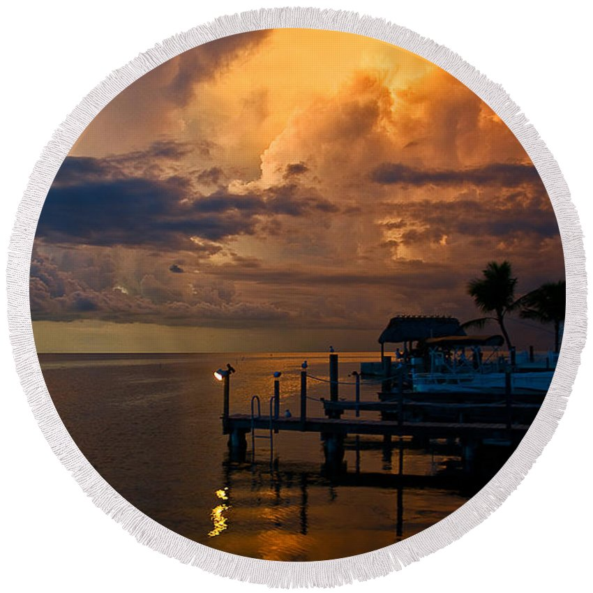 Island Storm Round Beach Towel featuring the photograph Tropical Island Storm Over Florida Keys Docks by Ginger Wakem