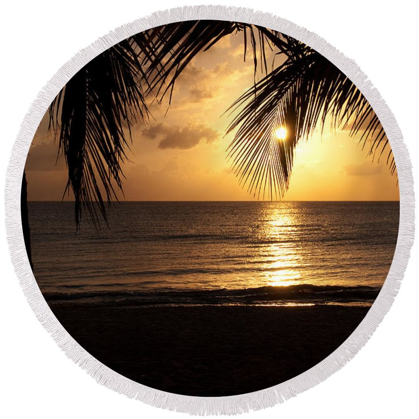 Island Round Beach Towel featuring the photograph Island Sunset by Charles Dobbs