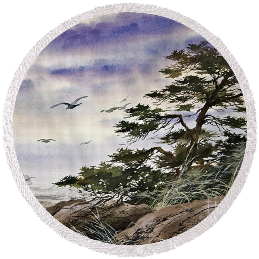 Landscape Fine Art Print Round Beach Towel featuring the painting Island Sunset by James Williamson