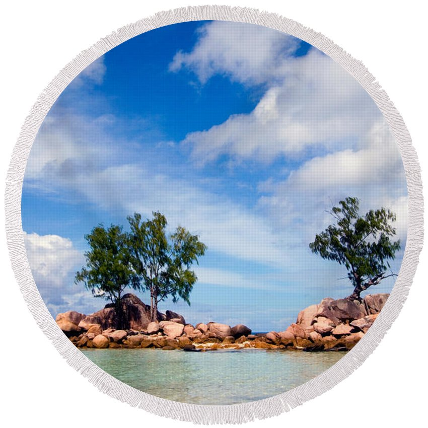 Seychelles Round Beach Towel featuring the photograph Islands And Clouds, The Seychelles by Tim Holt