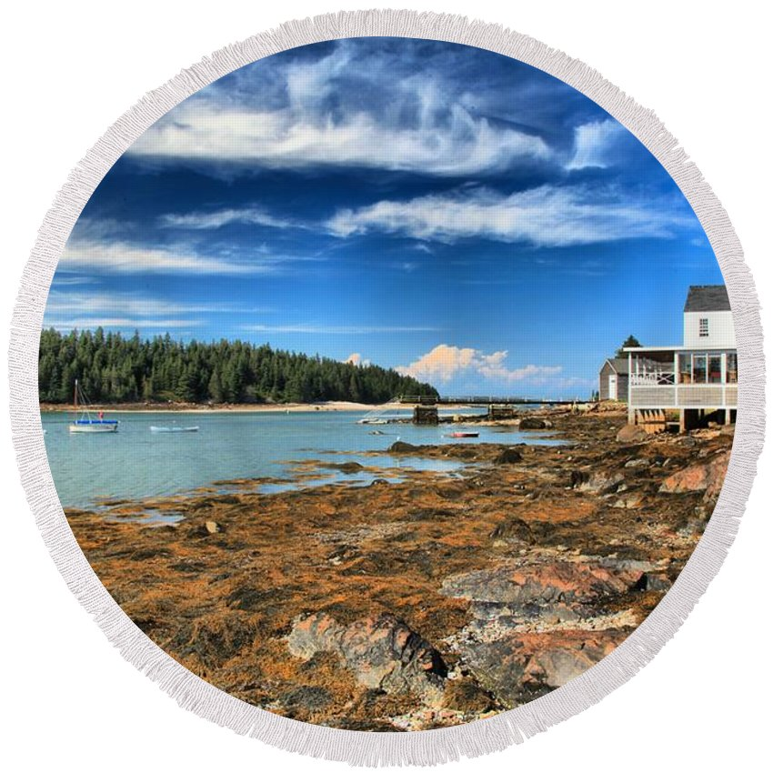Acadia National Park Round Beach Towel featuring the photograph Isle Au Haut House by Adam Jewell