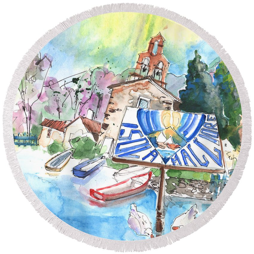 Italy Round Beach Towel featuring the painting Isola Maggiore In Italy 01 by Miki De Goodaboom