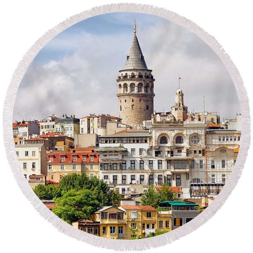 Galata Round Beach Towel featuring the photograph Istanbul Cityscape And Galata Tower by Artur Bogacki