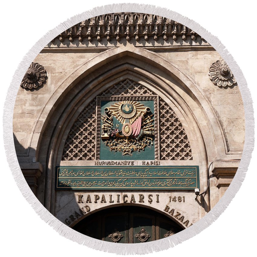 Istanbul Round Beach Towel featuring the photograph Istanbul Grand Bazaar 01 by Rick Piper Photography