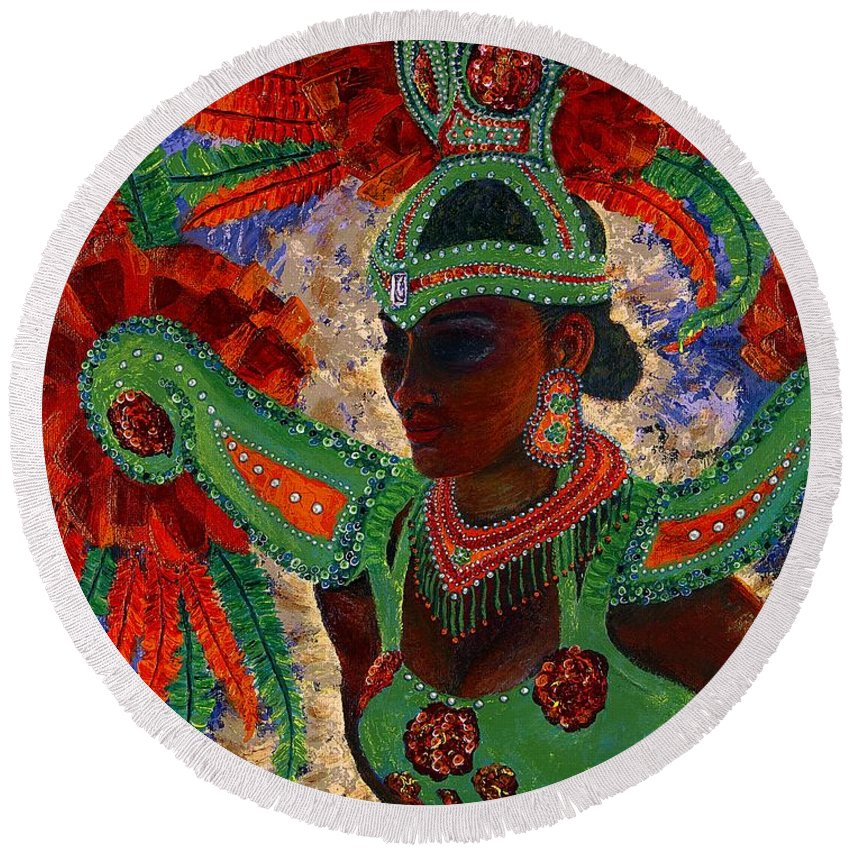 Festival Dancer Round Beach Towel featuring the painting It Looks Like Mardi Gras Time by Margaret Bobb