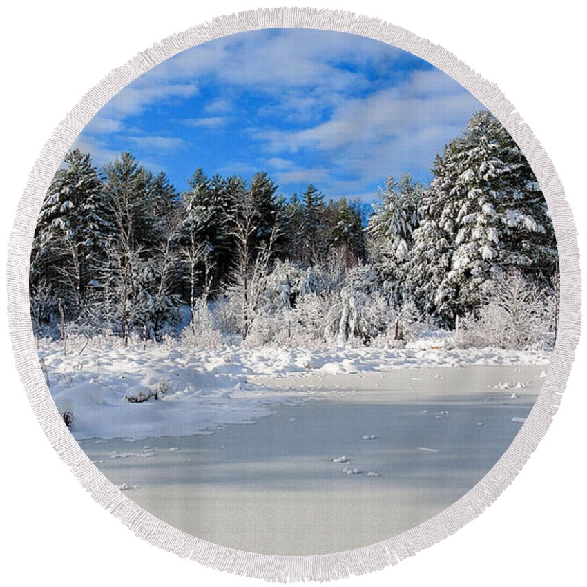 Snow Round Beach Towel featuring the photograph It Snow Reason by Mim White
