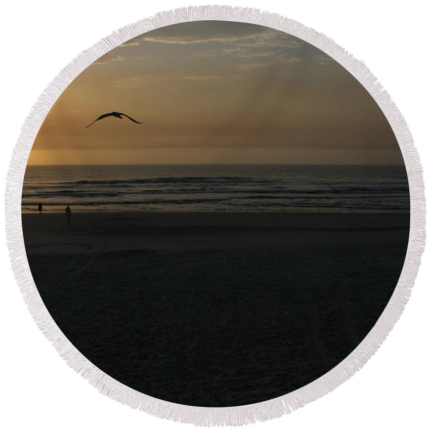 Florida Sunrise Round Beach Towel featuring the photograph It Starts by Greg Patzer