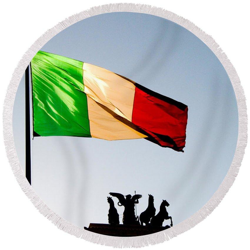 Flag Round Beach Towel featuring the photograph Italian Flag by Tim Holt