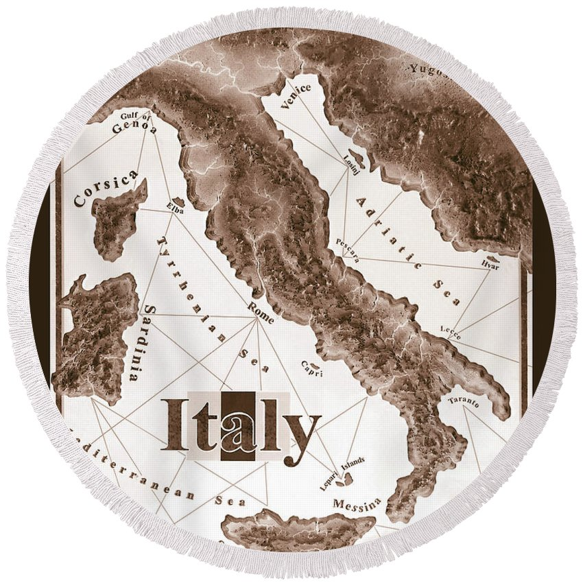 Italian Round Beach Towel featuring the mixed media Italian Map by Curtiss Shaffer