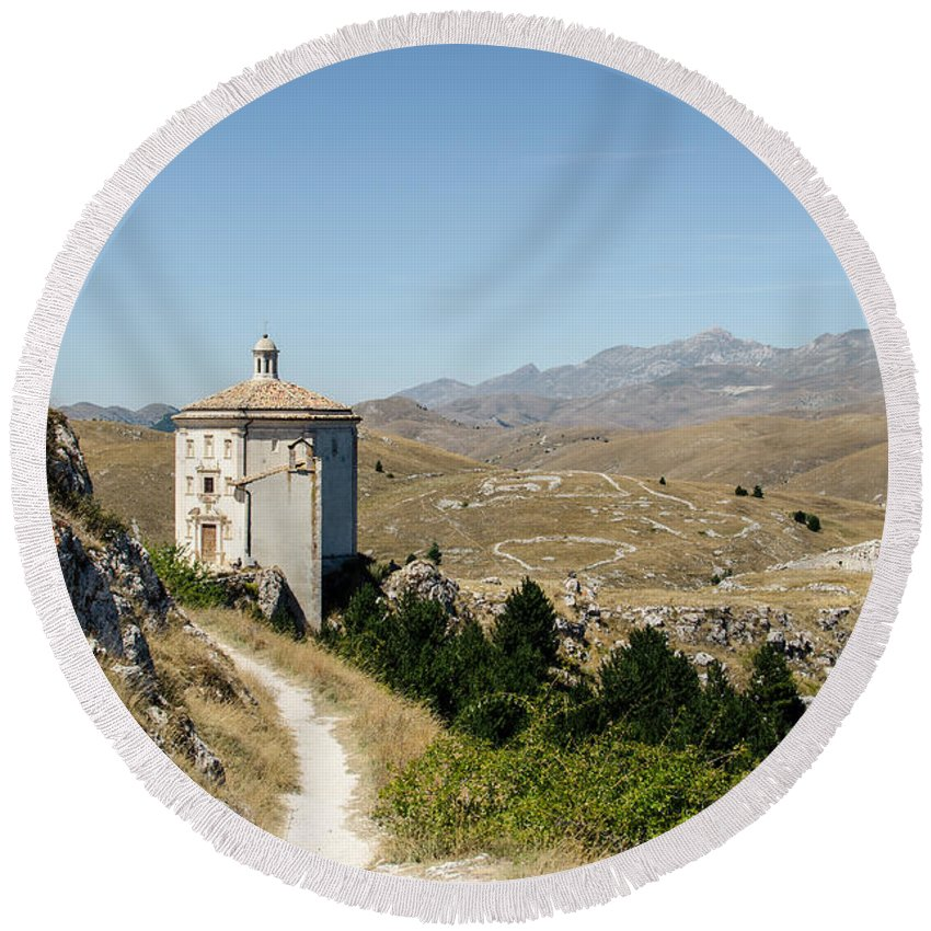 Church Round Beach Towel featuring the photograph In That Quiet Earth - An Italian Landscape by Andrea Mazzocchetti