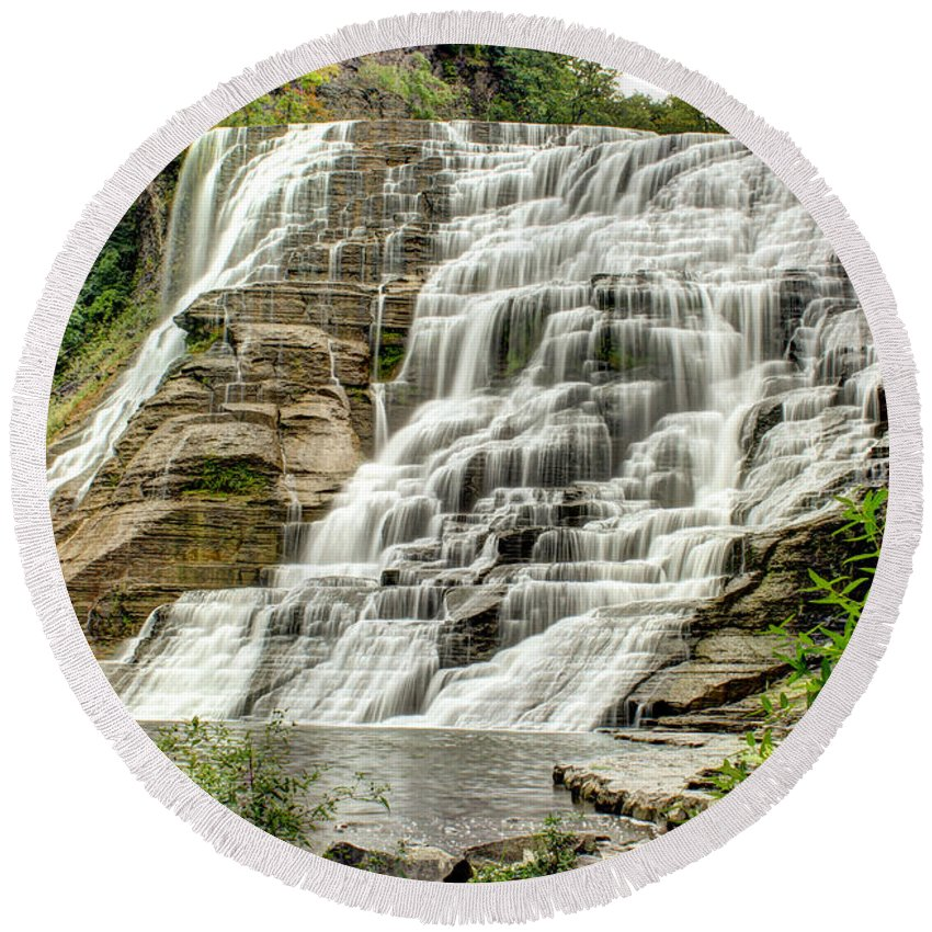 Ithaca Round Beach Towel featuring the photograph Ithaca Falls by Brad Marzolf Photography