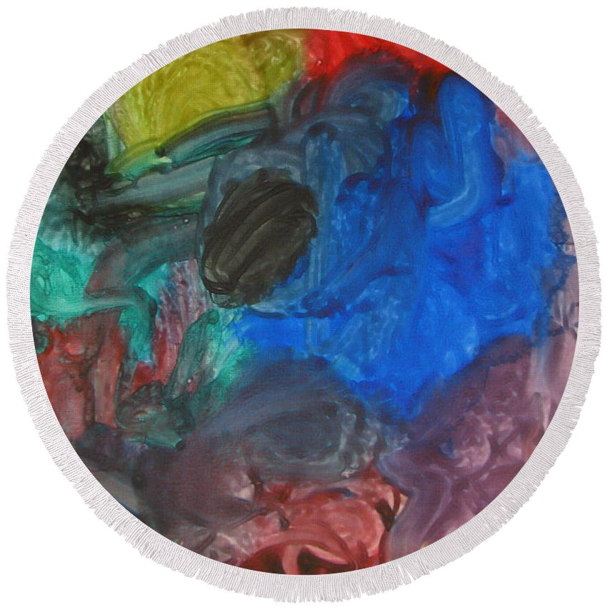 Canvas Round Beach Towel featuring the painting It's A Circle - Abstract Painting From A 2 Yr Old Boy by Lingfai Leung