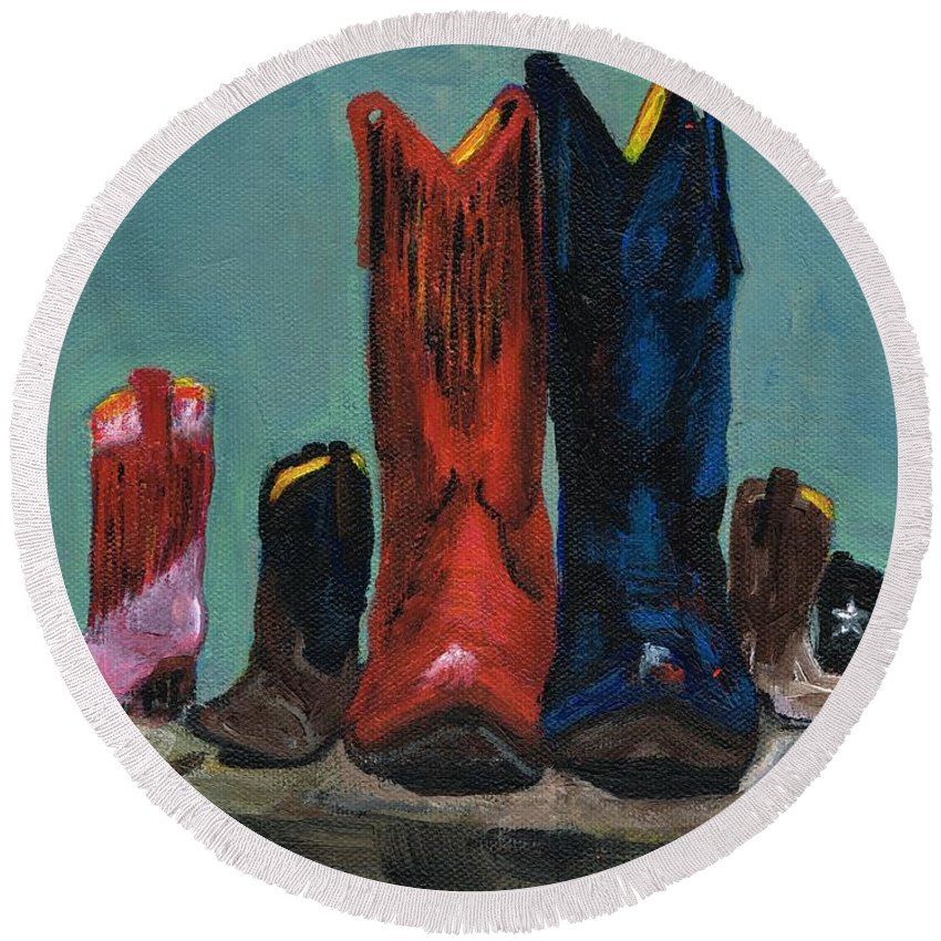 Western Boots Round Beach Towel featuring the painting It's A Family Tradition by Frances Marino
