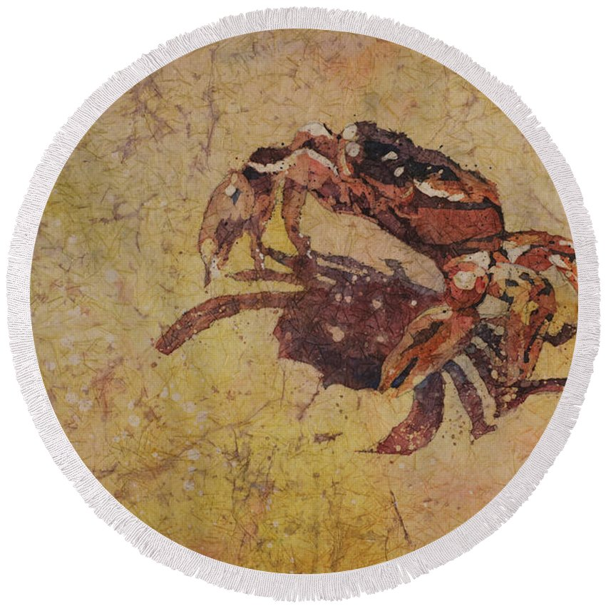 Batik Watercolor Round Beach Towel featuring the painting It's A Lot Further Than It Looks by Ryan Fox